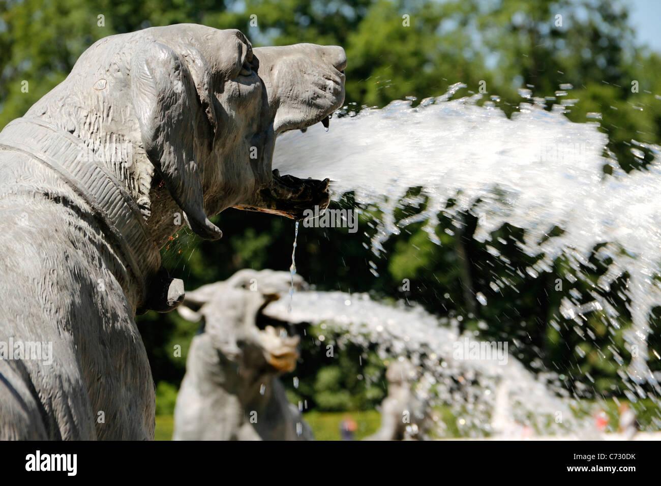 Hunting animal figures South Marble Fountain,Herrenchiemsee, Herreninsel Upper Bavaria Germany Stock Photo
