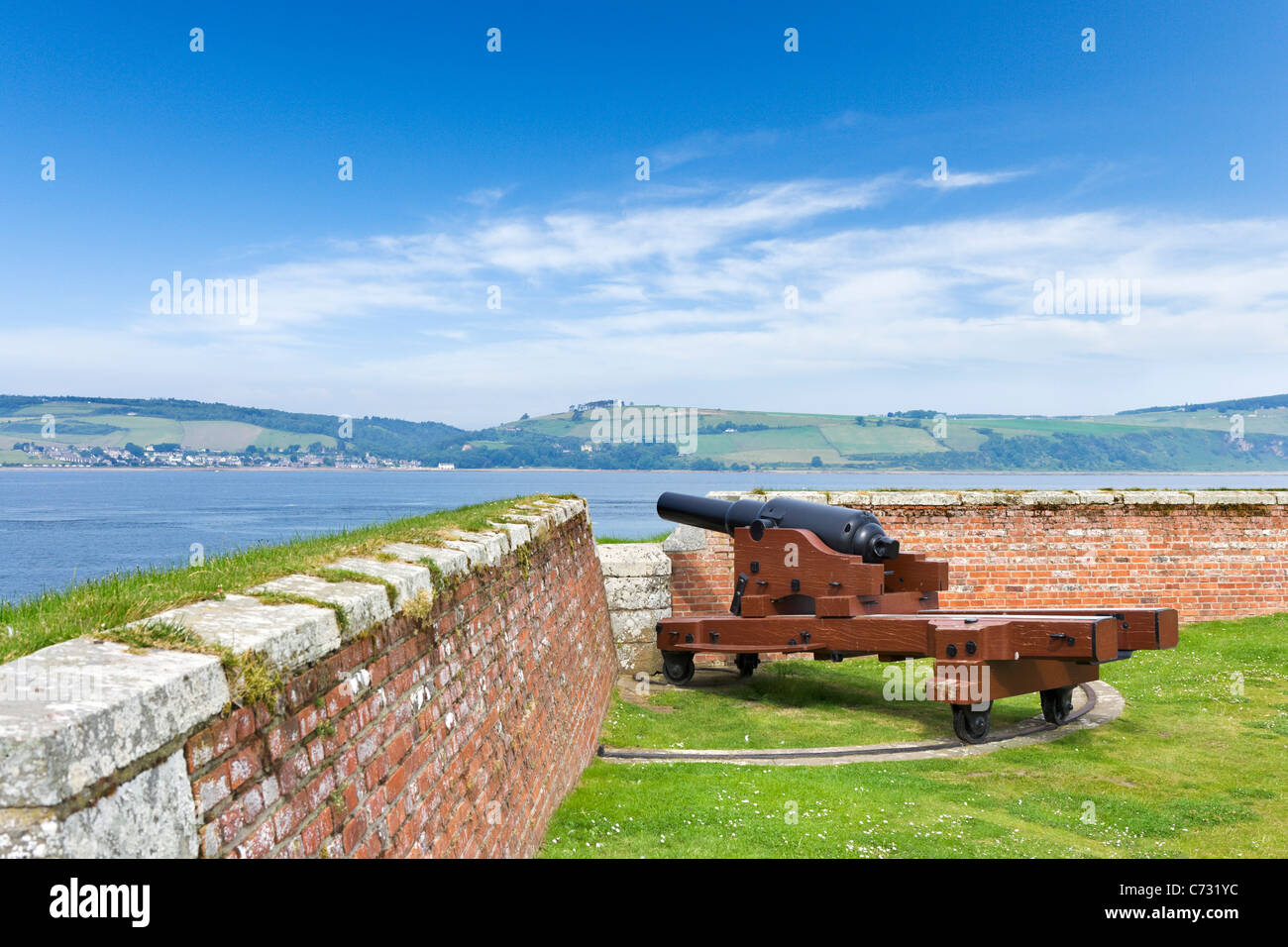 Gun on the Point Battery in Fort George overlooking the Moray Firth, near Inverness, Highland, Scotland, UK - Stock Image