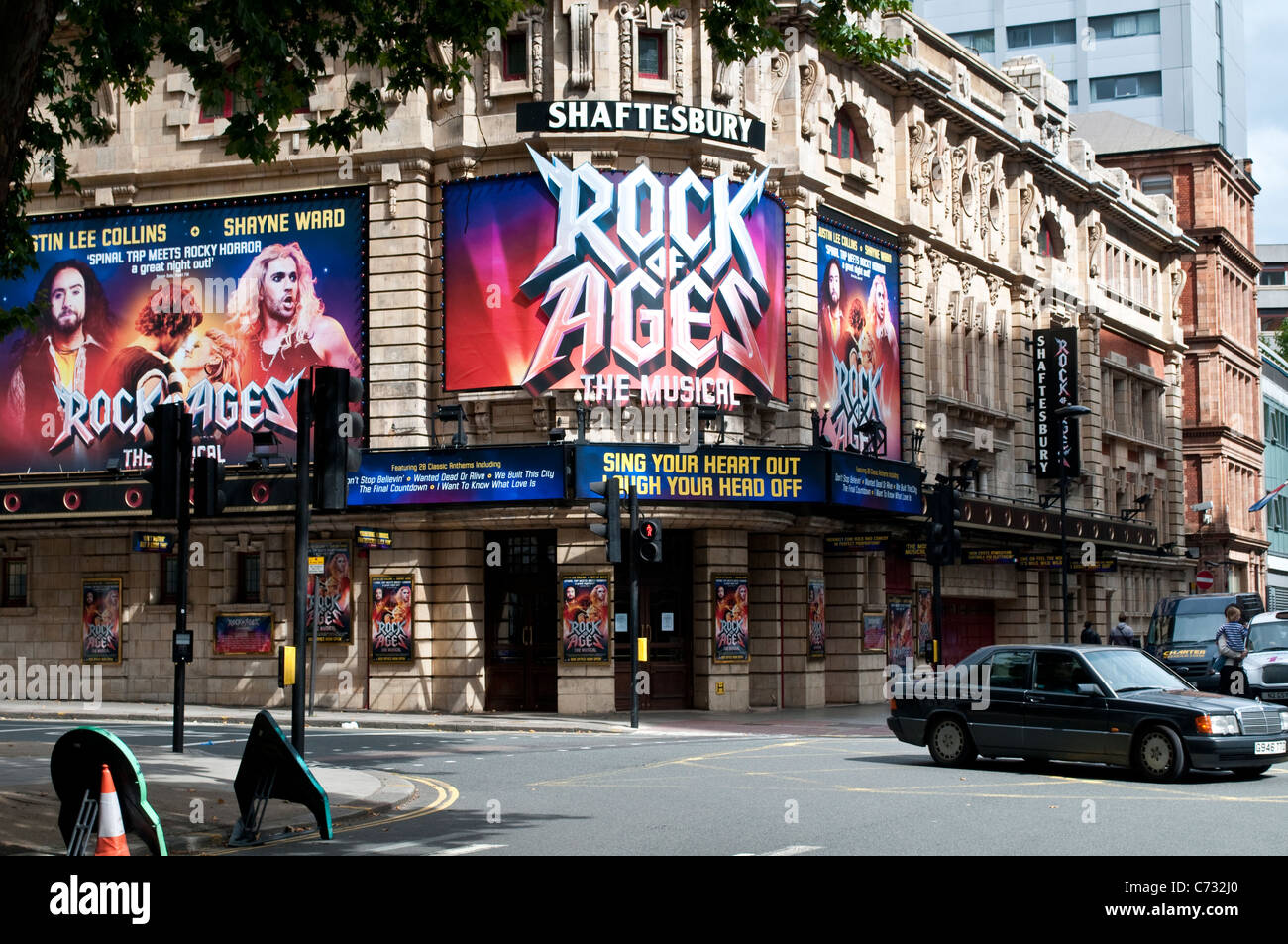 Shaftesbury Theatre on High Holborn showing Rock of Ages musical, London, UK - Stock Image
