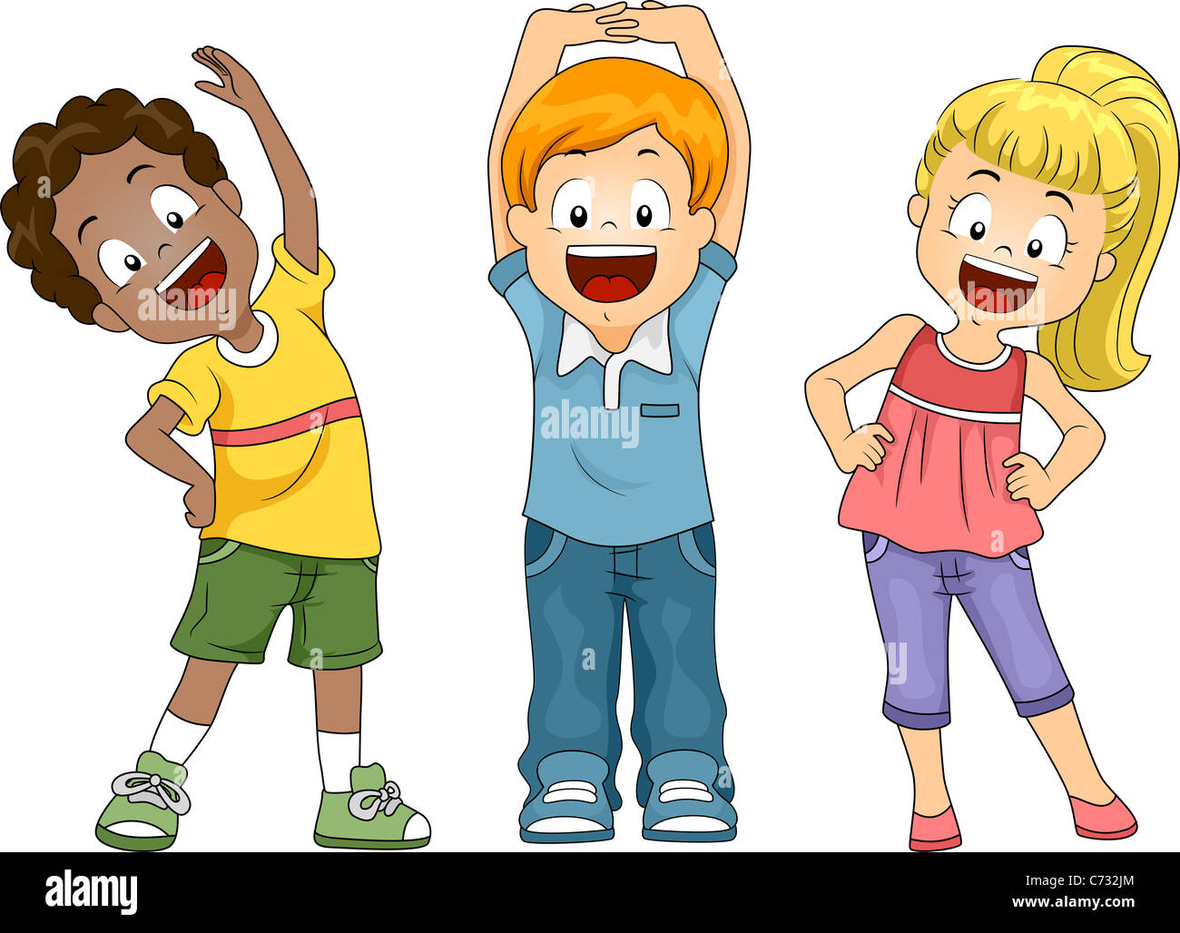 Illustration Of Kids Exercising Stock Photo Alamy