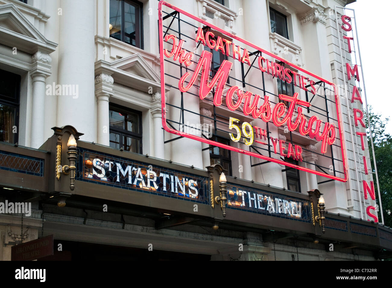 St Martin's Theatre showing Agatha Christie's Mousetrap, Covent Garden, London, UK - Stock Image