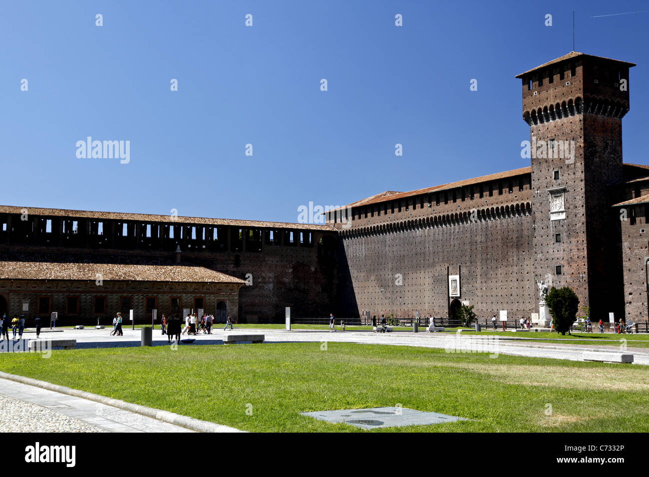 Inside Sforza Castle (Castello Sforzesco) - the residence of the Visconti family, long time rulers of Milan - Stock Image