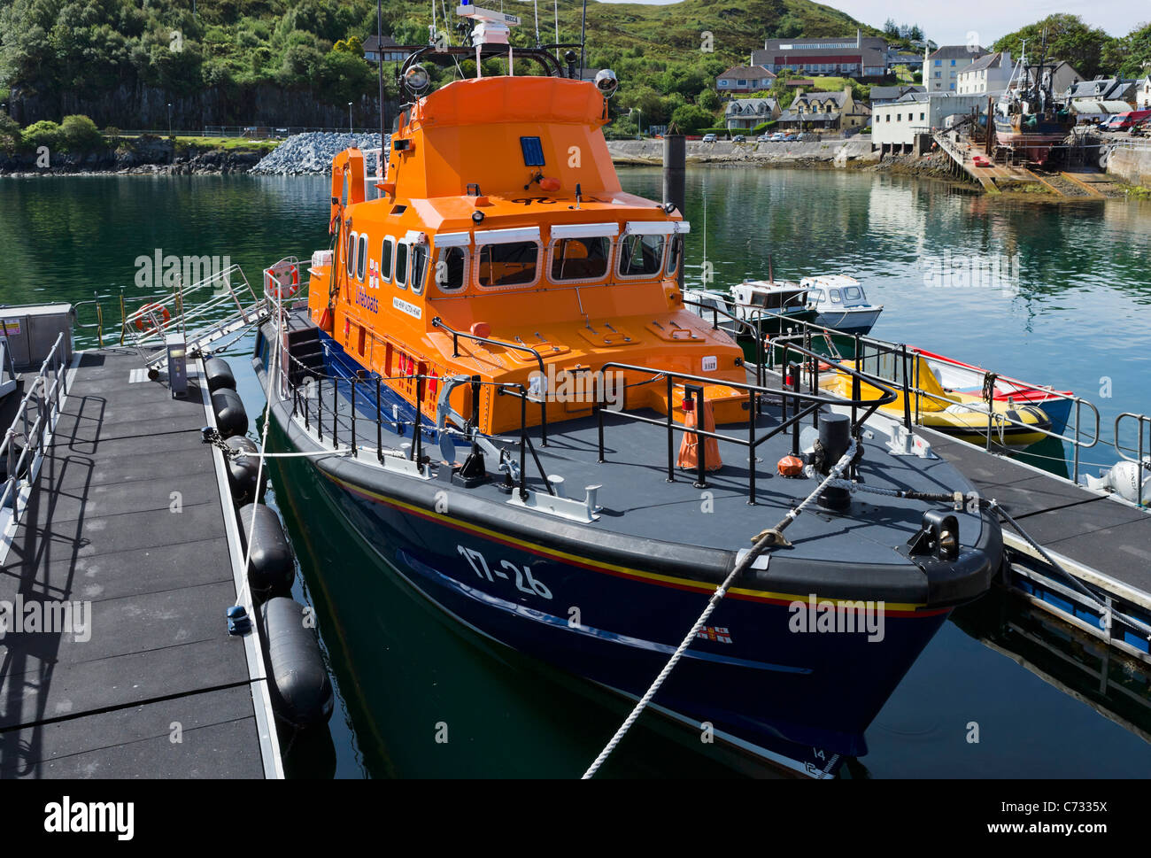 RNLI lifeboat in the harbour at Mallaig, Lochabar, Highland, Scotland, UK - Stock Image