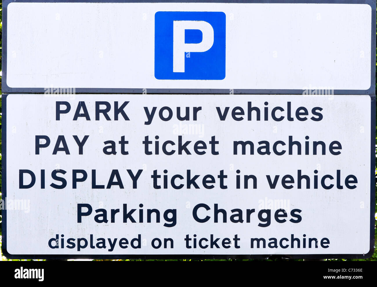 Sign by a ticket machine in a Pay and Display car park in Inverness, Highland, Scotland, UK - Stock Image