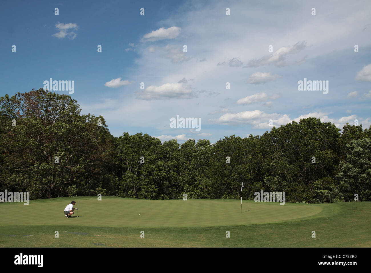 A man on a golf green preparing to putt. - Stock Image