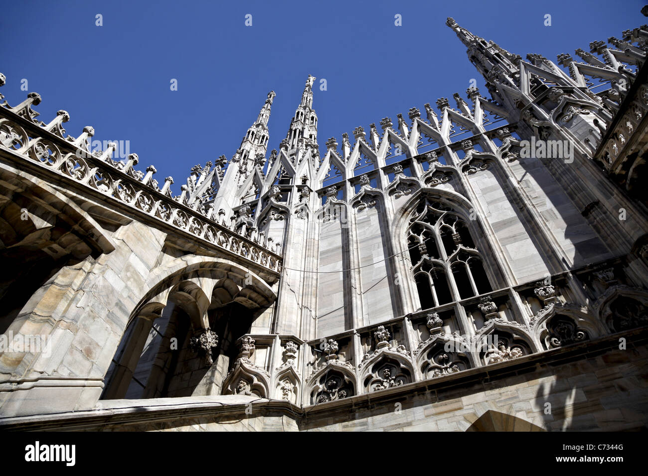 A section of the roof of Milan Cathedral (Duomo di Milano) - Stock Image