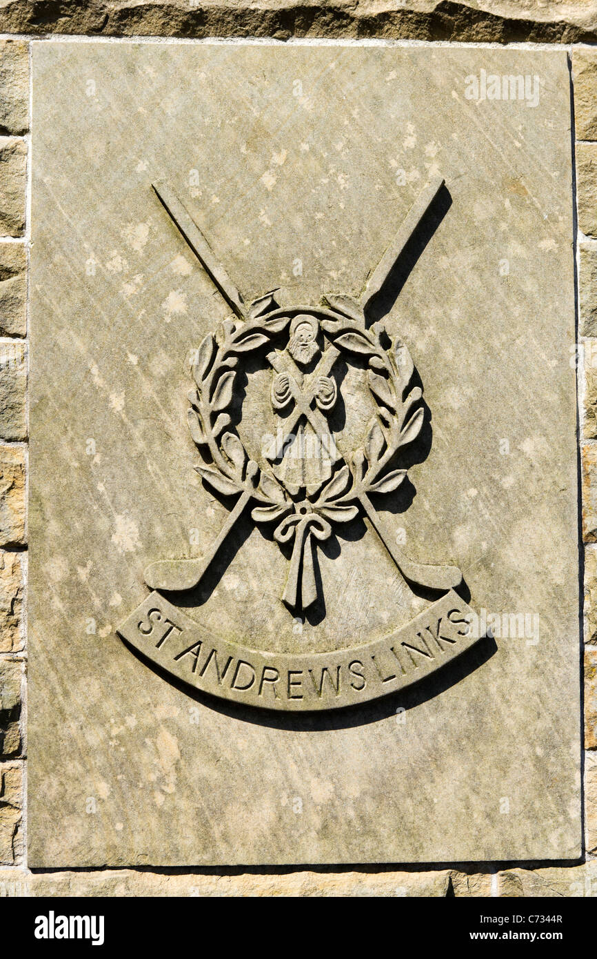Stone carving by the Old Course on the golf course at St Andrews, Fife, Scotland, UK - Stock Image