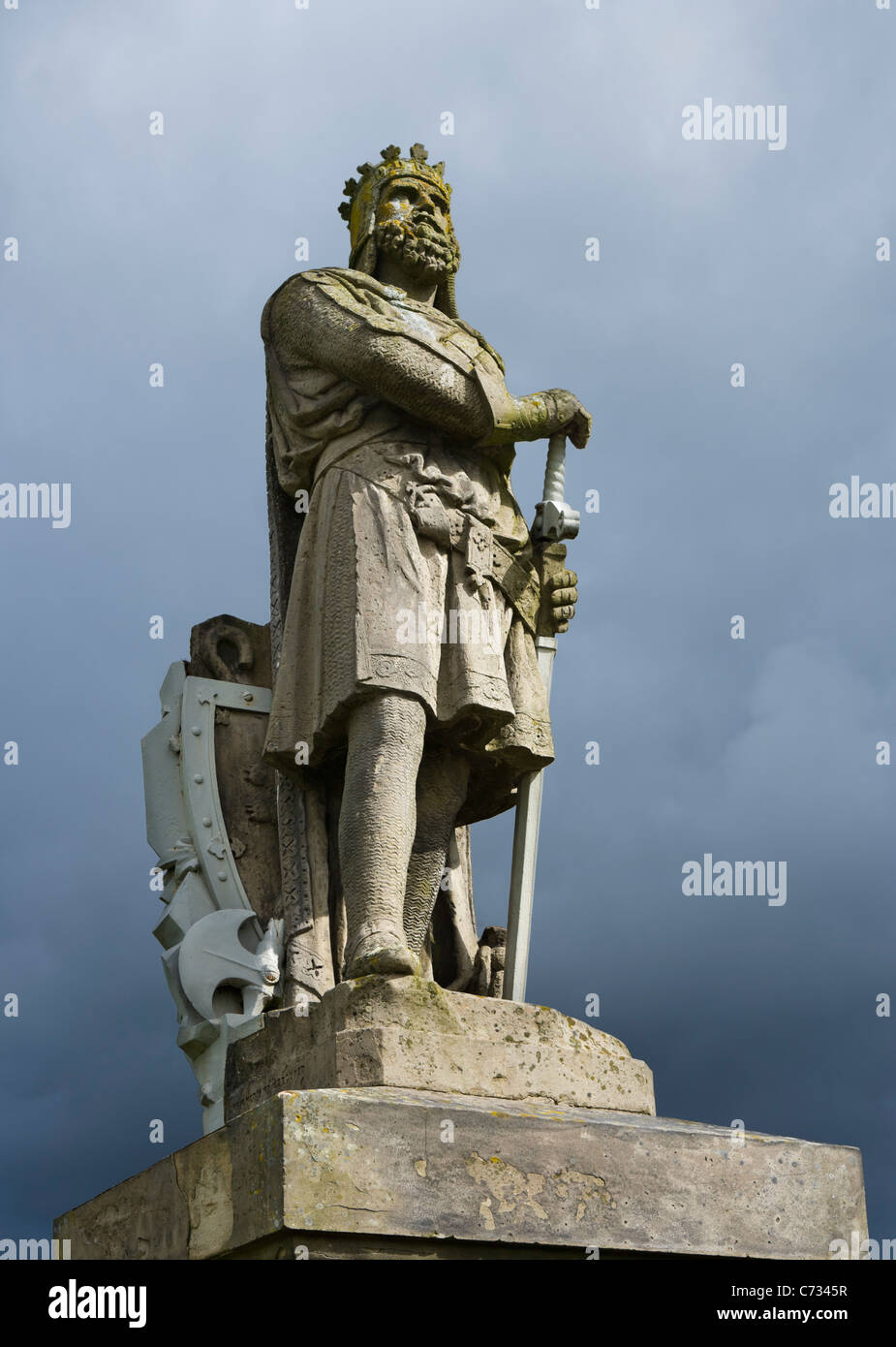 Statue of Robert the Bruce outside Stirling Castle, Stirling, Scotland, UK - Stock Image