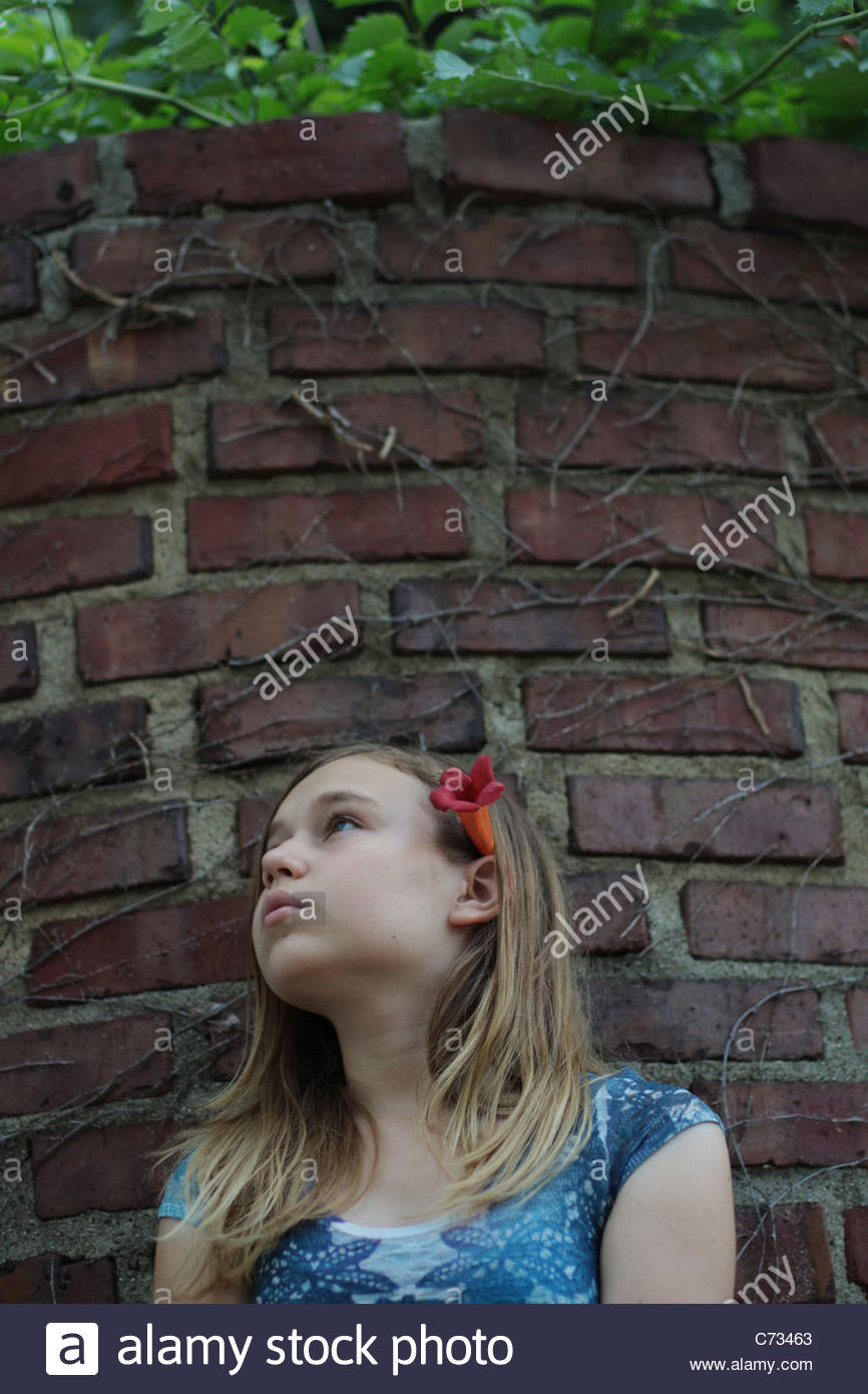 A 12 year old girl. - Stock Image