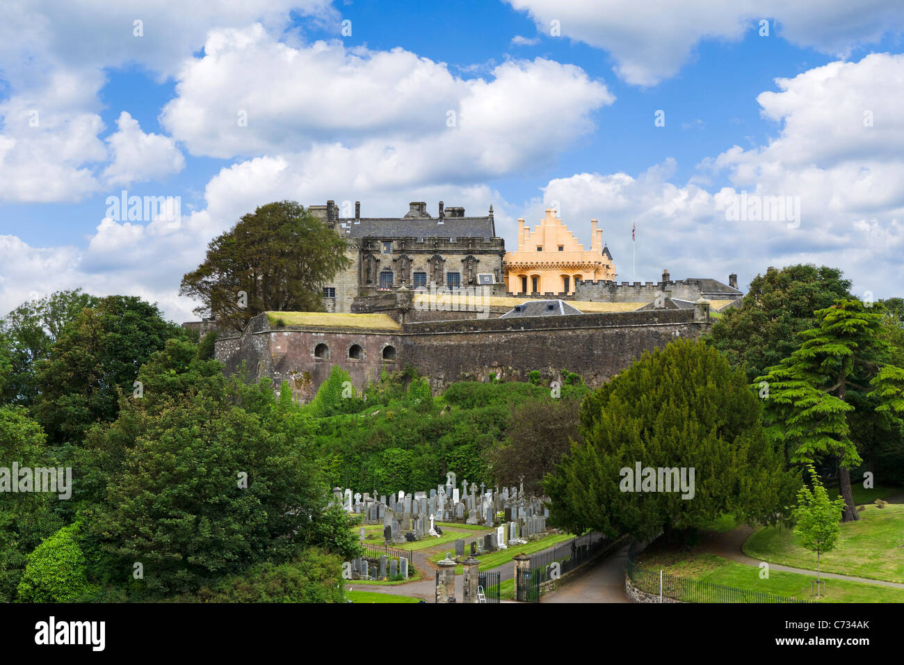 Stirling Castle viewed from the Church of the Holy Rude, showing the controversially painted Great Hall, Stirling, Scotland, UK Stock Photo
