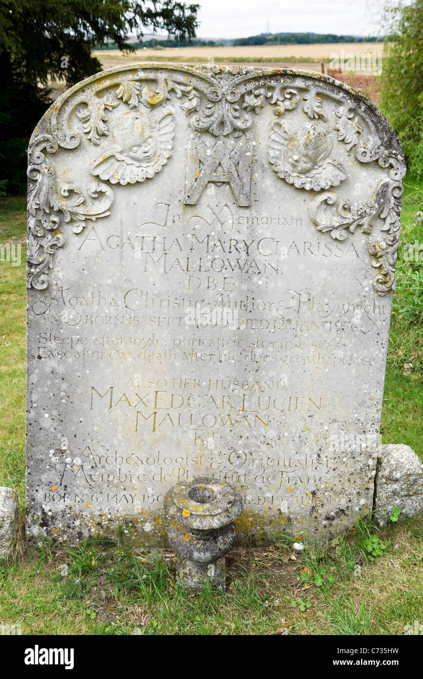 The grave of Agatha Christie and her husband Max Mollowean in St Mary's parish church, Cholsey, near Wallingford, - Stock Image