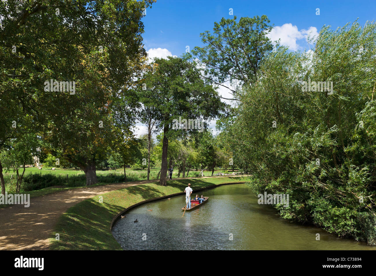 Punting on the River Cherwell near Christ Church Meadow, Oxford, Oxfordshire, England, UK - Stock Image