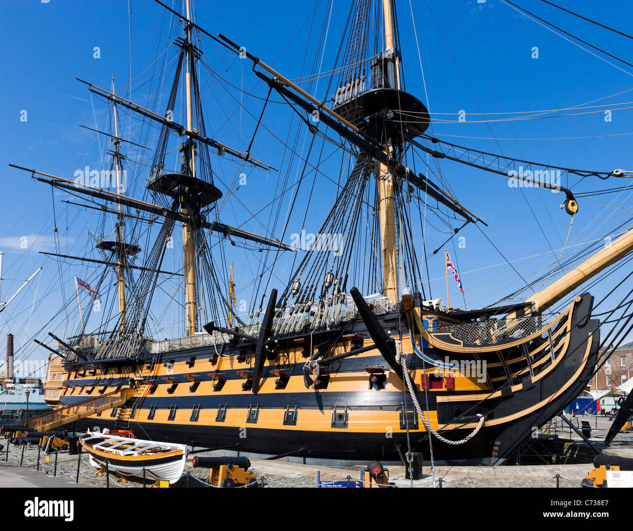 Lord Nelson's flagship HMS Victory in Portsmouth Historic Dockyard, Portsmouth, Hampshire, England, UK - Stock Image