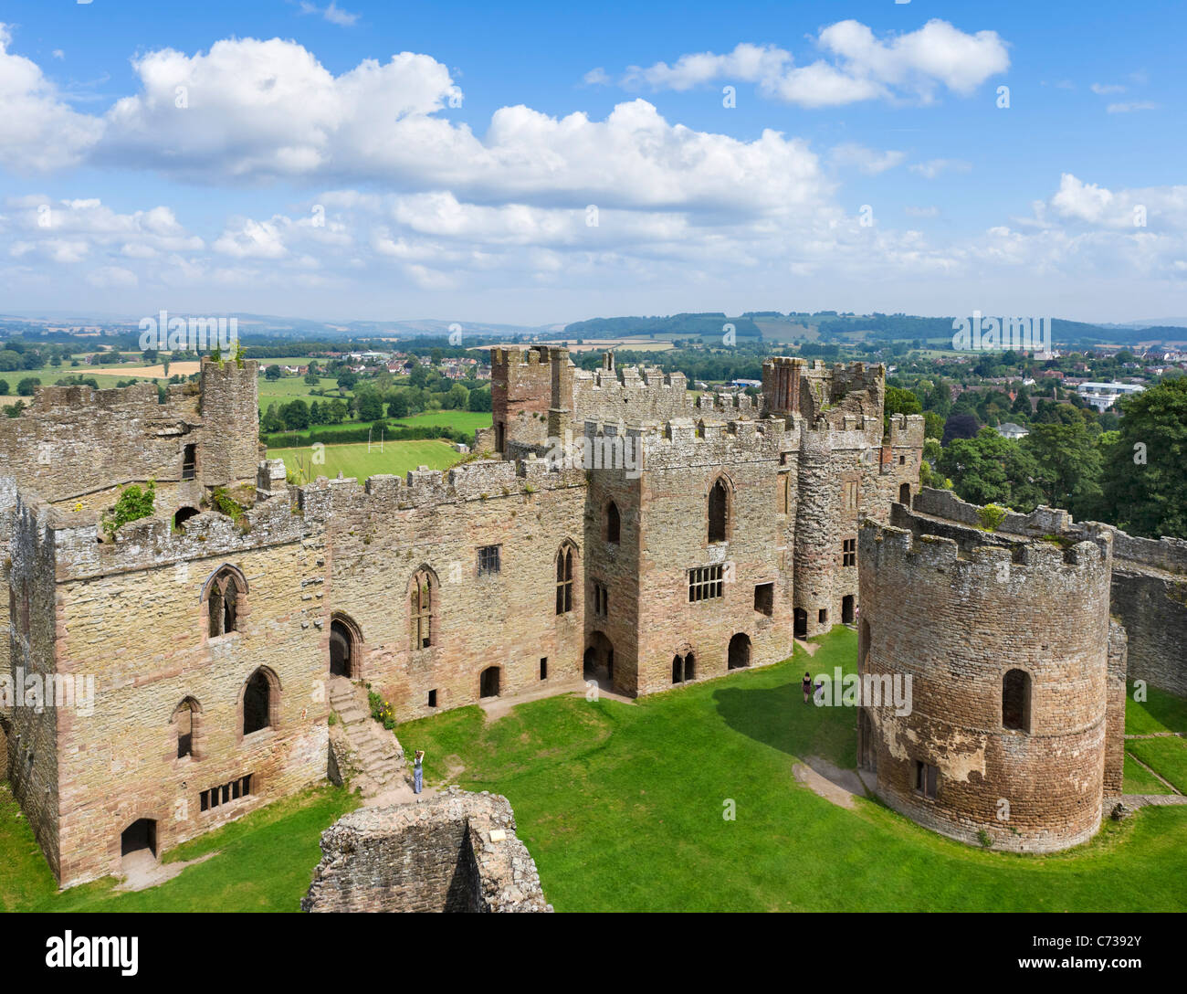 Ruins of Ludlow Castle and a view out over the Shropshire countryside, Ludlow, Shropshire, England, UK - Stock Image