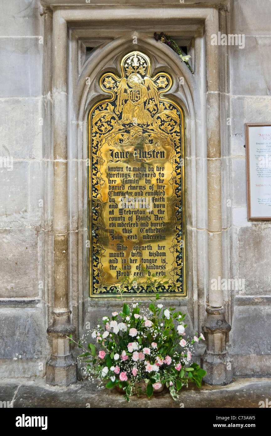 Memorial plaque to the novelist Jane Austen, who is buried in the Nave of Winchester Cathedral, Winchester, Hampshire, - Stock Image