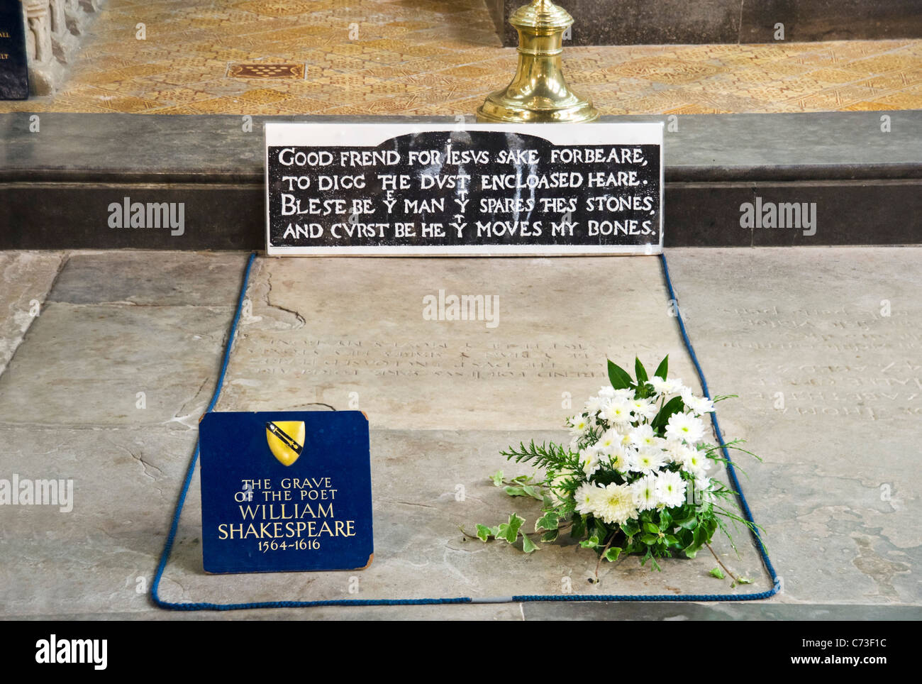 The grave of William Shakespeare in the Church of the Holy Trinity, Stratford-upon-Avon, Warwickshire, England, - Stock Image