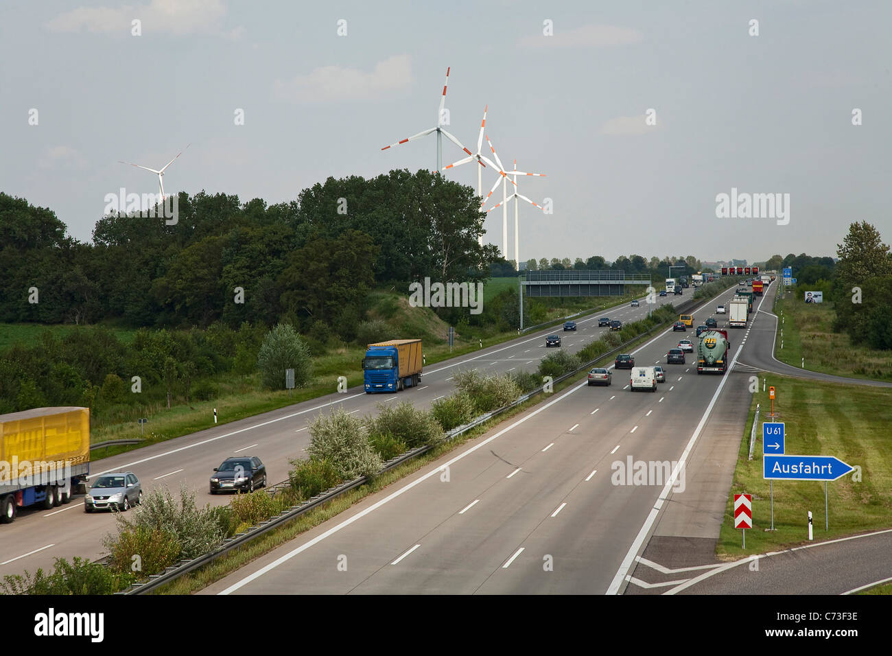 Wind turbines near Autobahn A2, Lower Saxony, Germany Stock Photo