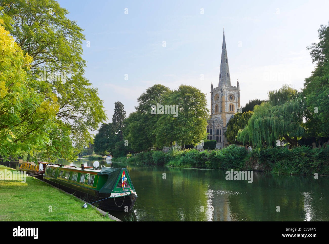 The Church of the Holy Trinity (where Shakespeare is buried) from across the River Avon, Stratford-upon-Avon, Warwickshire, - Stock Image