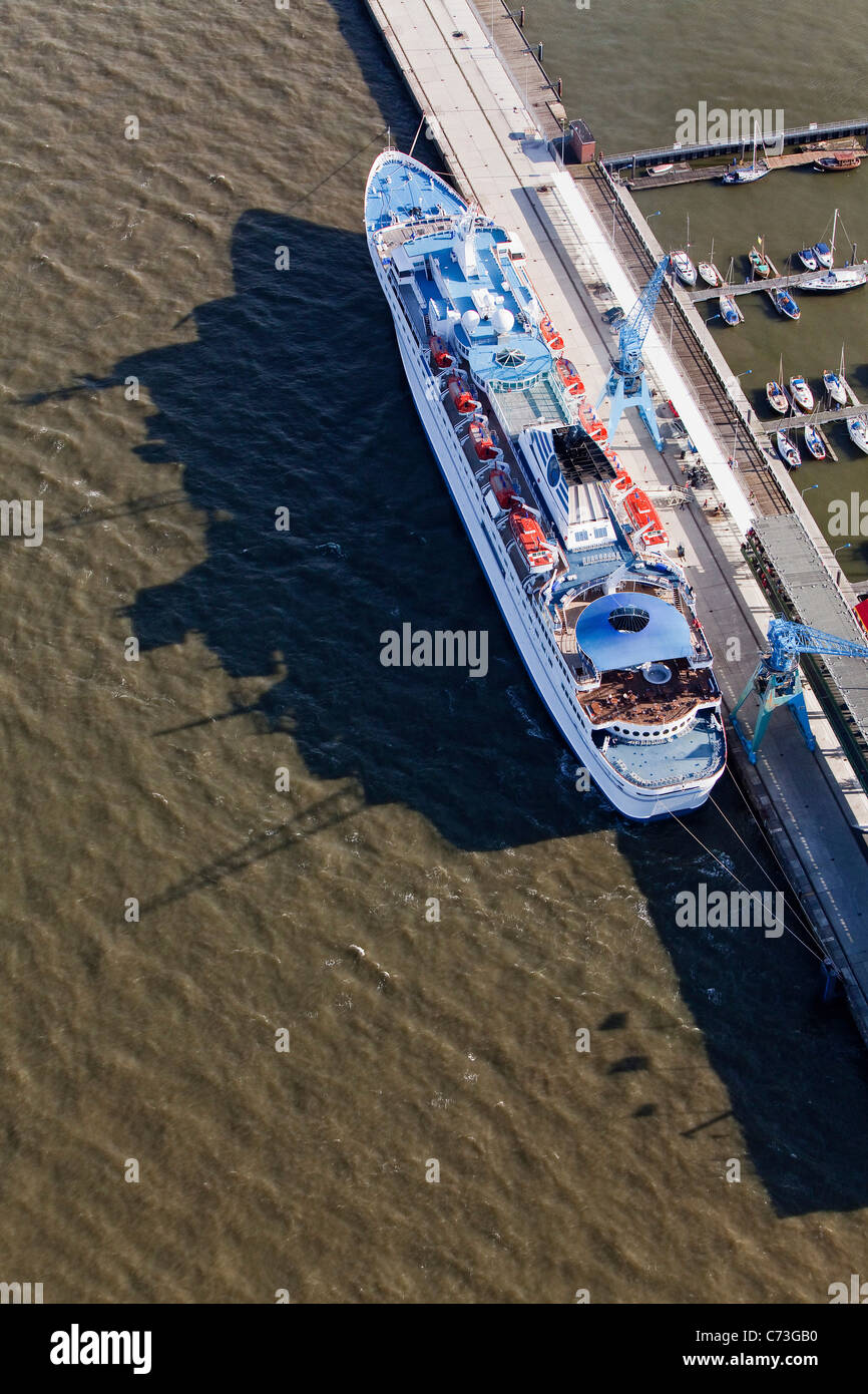 Aerial shot liner at the quay, Cuxhaven, Lower Saxony, Germany - Stock Image