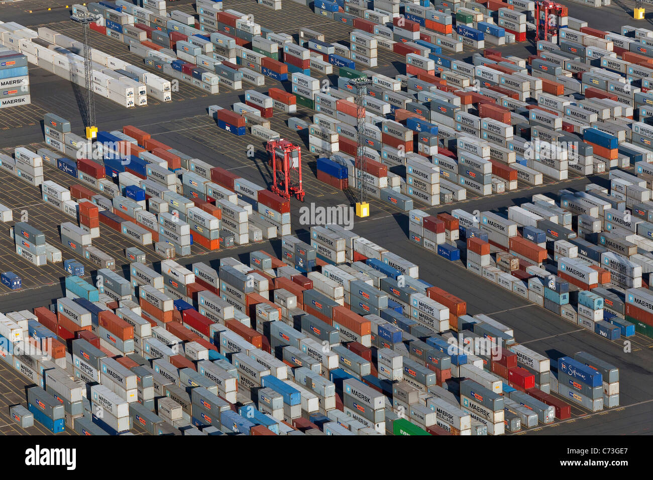 Aerial view of the container port, Containers waiting to be transported, Logistics, Bremerhaven, northern Germany - Stock Image