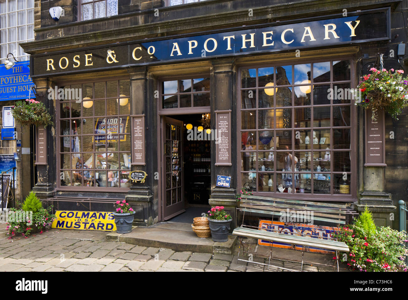 Rose & Co Apothecary on the main street (dating from the time of the Brontes), Haworth, West Yorkshire, England, Stock Photo