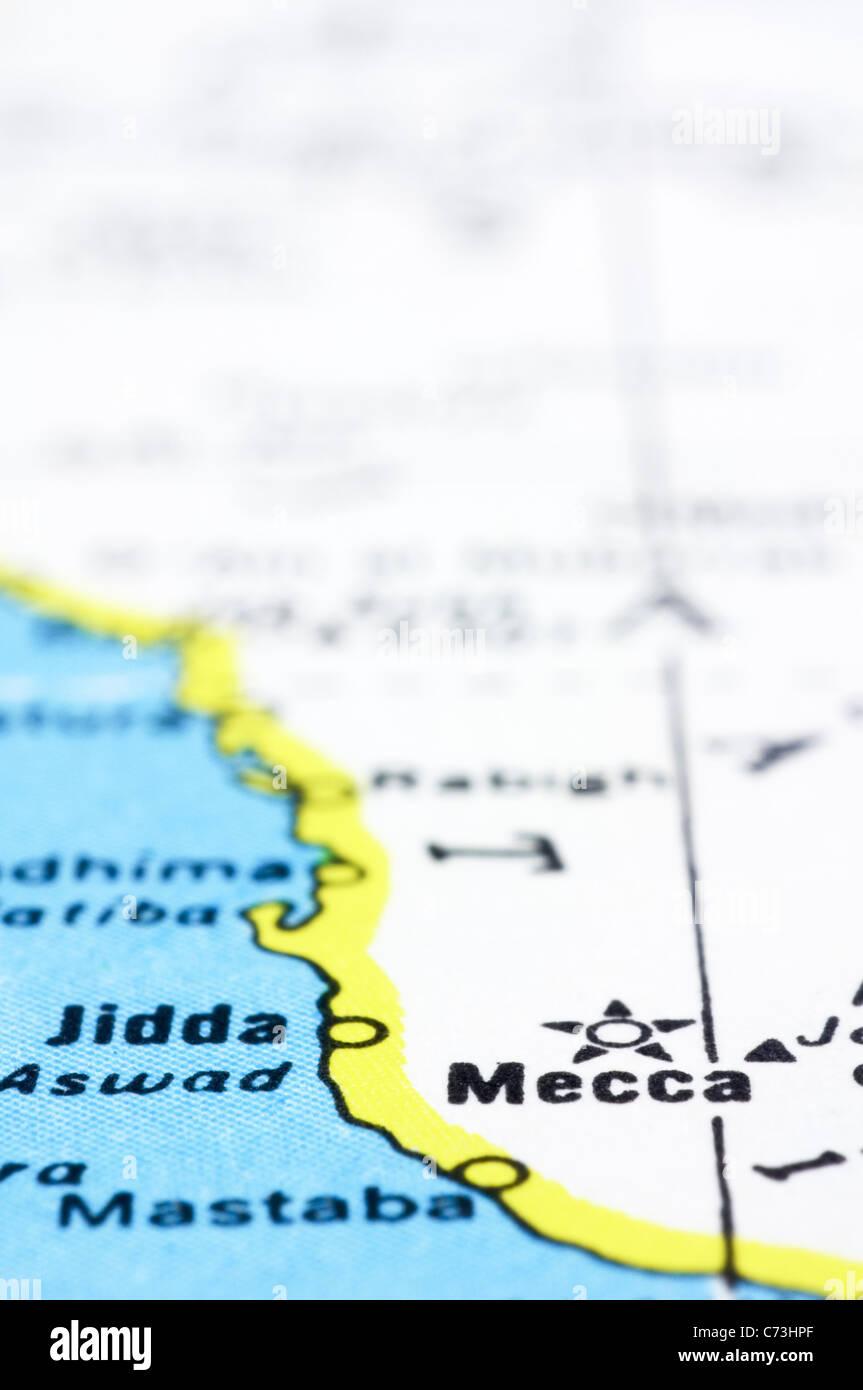 a close up shot of mecca on map, Saudi Arabia Stock Photo: 38803143 ...