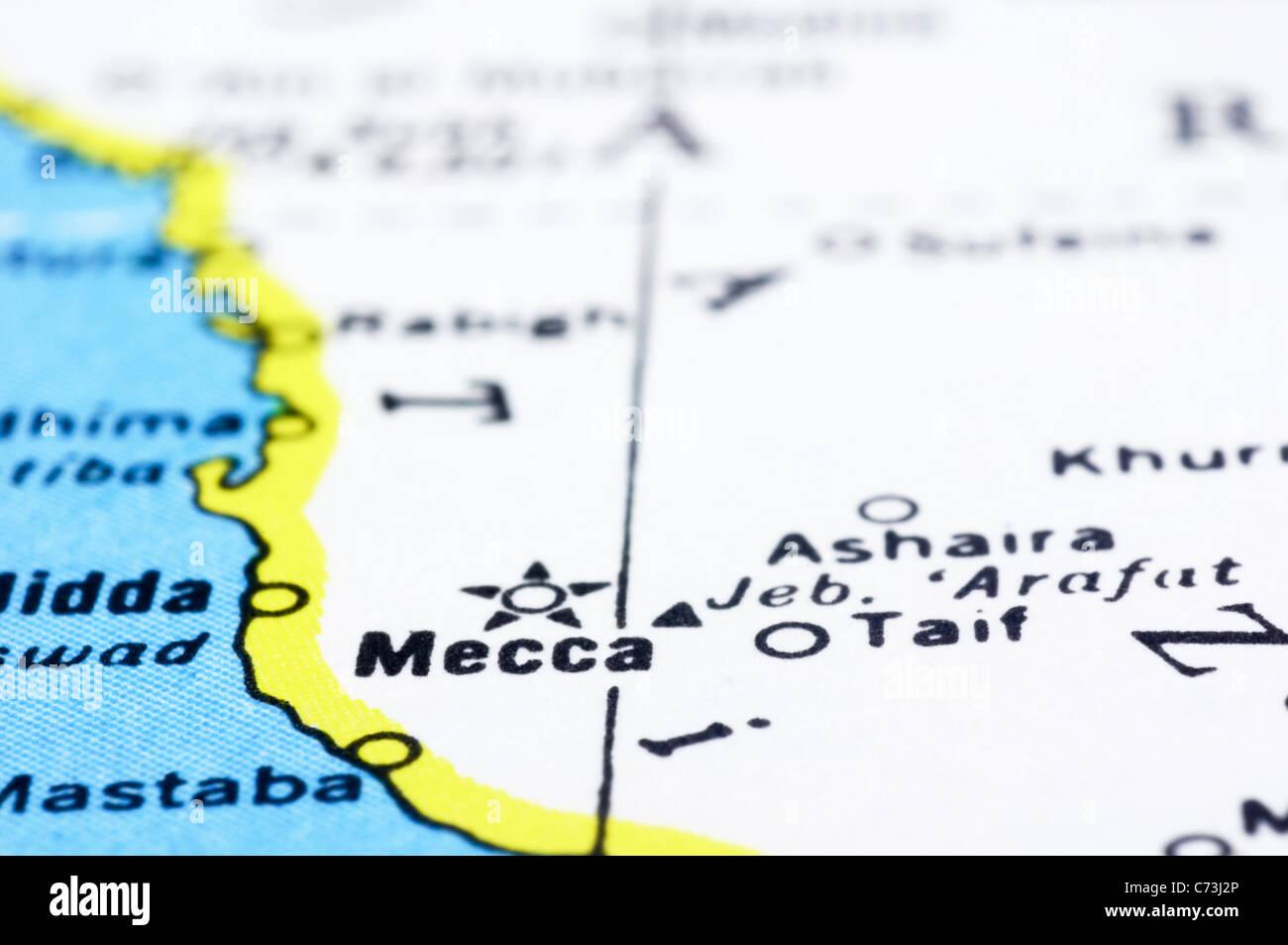 a close up shot of mecca on map, Saudi Arabia Stock Photo: 38803374 ...