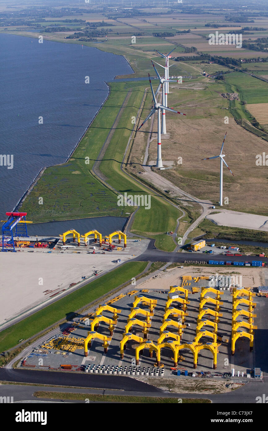 Wind turbines near harbor, Cuxhaven, Lower Saxony, Germany - Stock Image