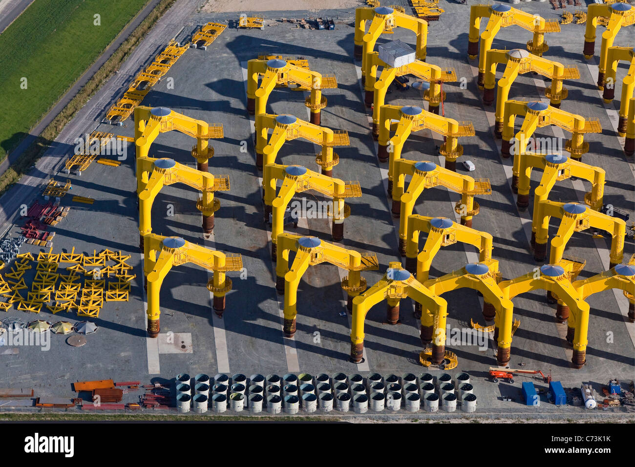 Aerial view of foundation structures for offshore wind farms at Cuxhaven Steel Construction, Cushaven, Lower Saxony, - Stock Image