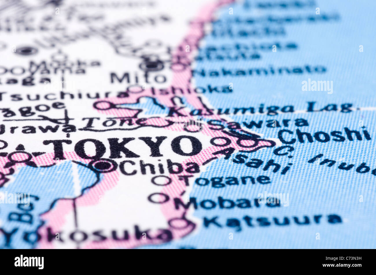 A Close Up Shot Of Tokyo On Map Capital Of Japan Stock Photo