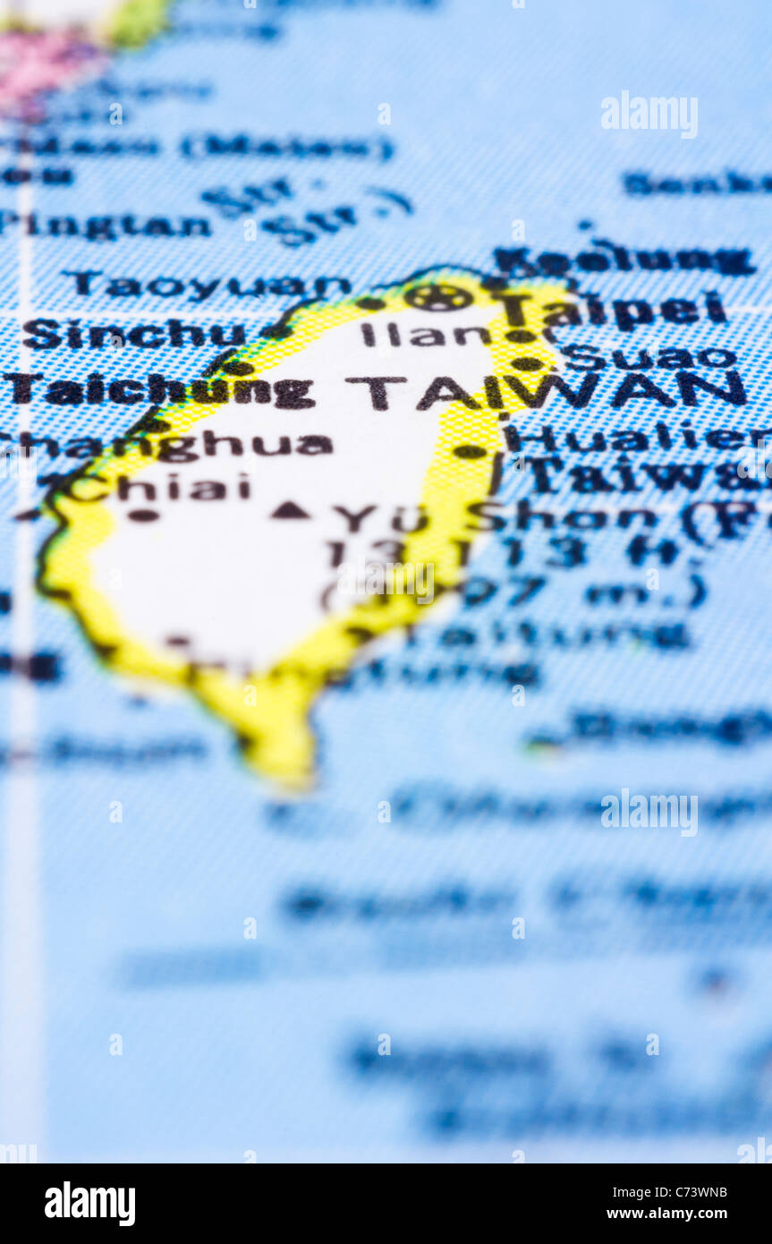 Map Of Asia Taiwan.A Close Up Shot Of Taiwan On Map Asia Stock Photo 38809383 Alamy
