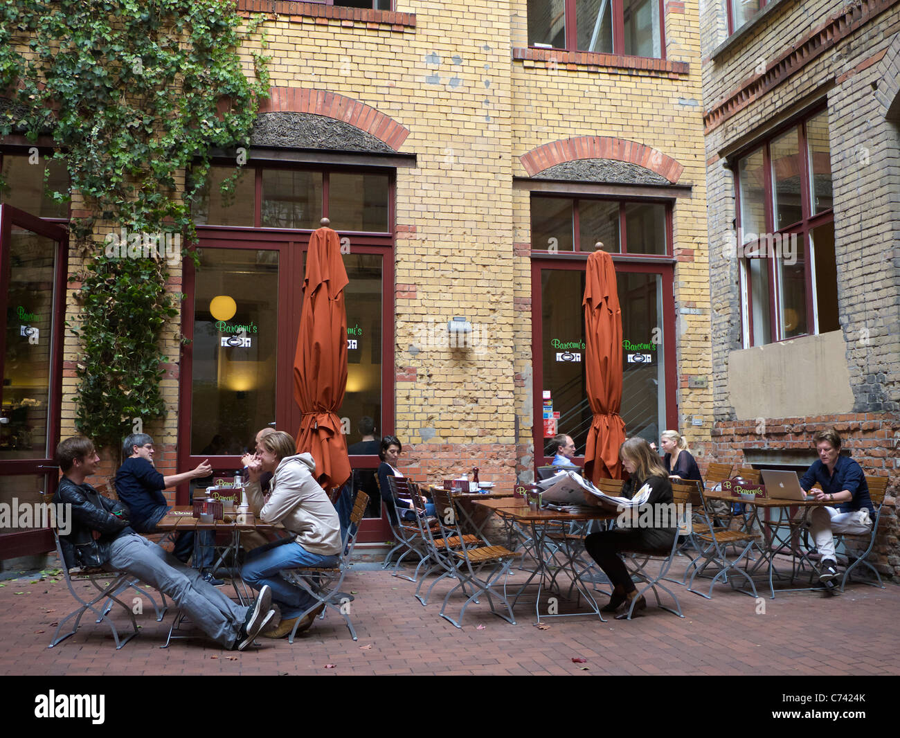 Barcomis cafe in Sophie-Gips courtyard in Mitte district of Berlin in Germany - Stock Image