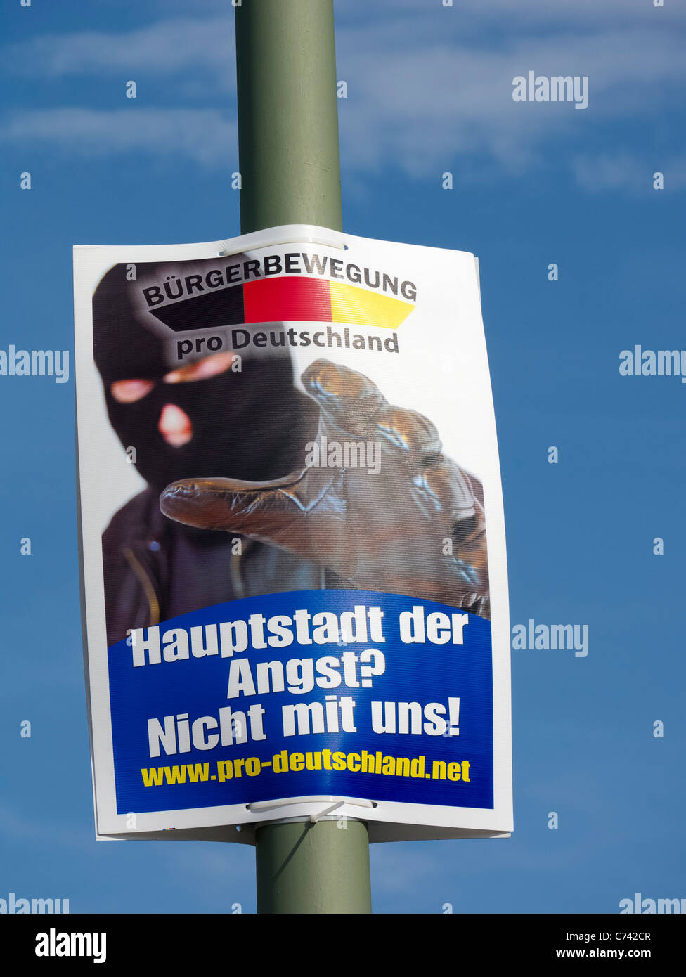 party political election poster by pro Germany Citizens' Movement Party  in Berlin Germany before elections - Stock Image