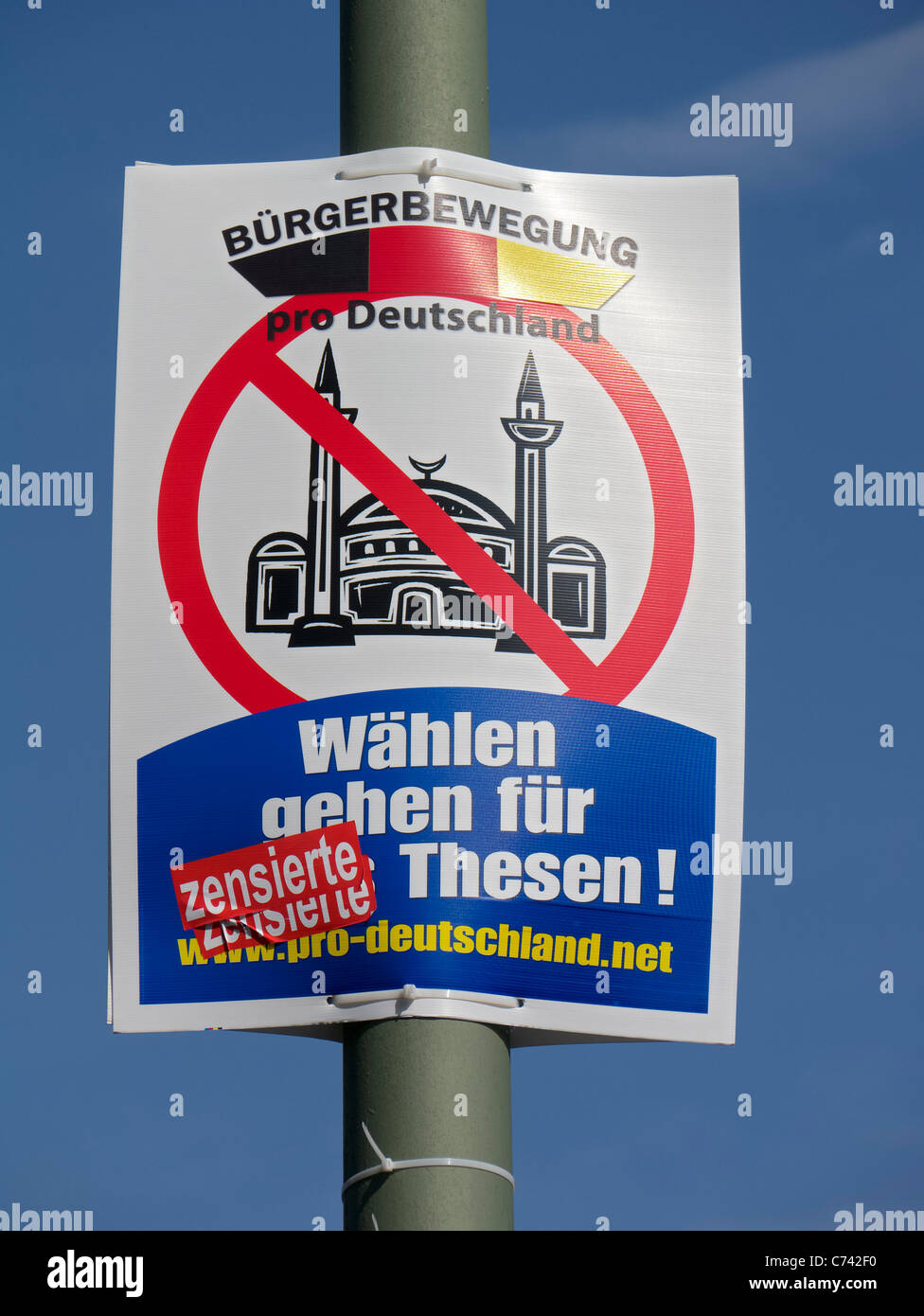 Anti-Islamic political election poster by pro Germany Citizens' Movement Party in Berlin Germany before elections - Stock Image
