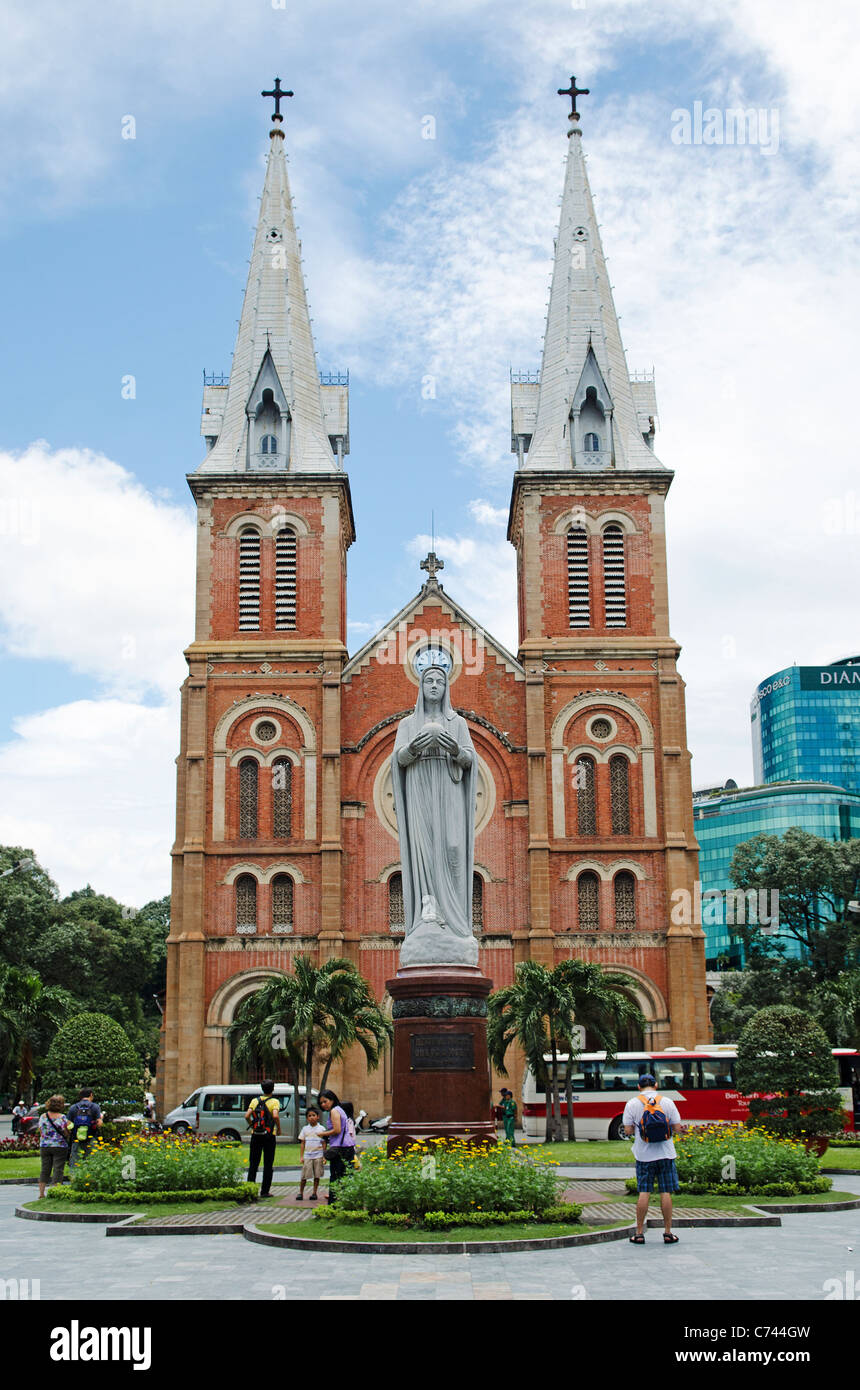 notre dame cathedral in ho chi minh vietnam - Stock Image
