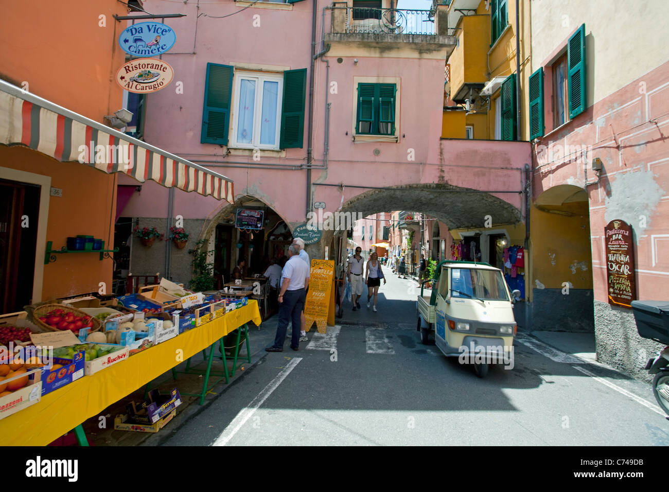 Greengrocery at old town of Monterosso al Mare, Cinque Terre, Unesco World Heritage site, Liguria di Levante, Italy, - Stock Image
