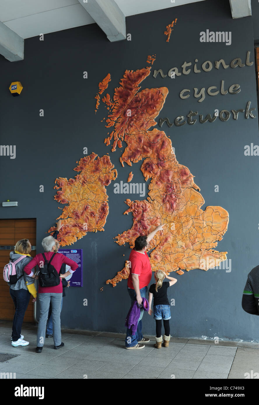 Giant map of the British National Cycle Network at Bristol harbour city centre UK - Stock Image