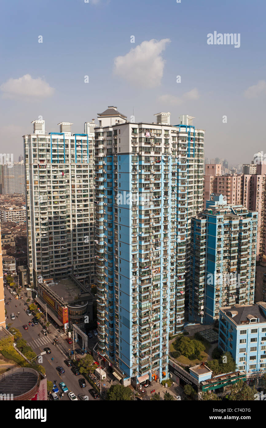 Apartment buildings in Central Shanghai, Shanghai, China - Stock Image