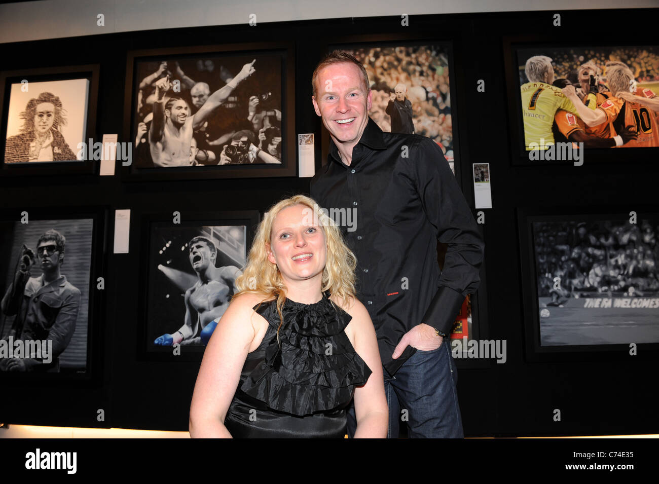 Footballer Jody Craddock with his wife Shelley at the launch of his Art Exhibition at Wolverhampton's Castle - Stock Image