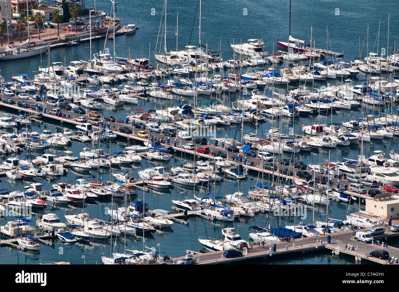 On the Mediterranean Sea The town of Alicante, Spain, Europe - On the Mediterranean Sea. Showing the towns Marina - Stock Image