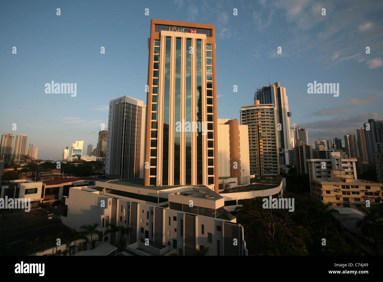 View of the financial and banking area of Panama City, around Marbella, seen from the Riu Hotel. HSBC bank Panama. - Stock Image