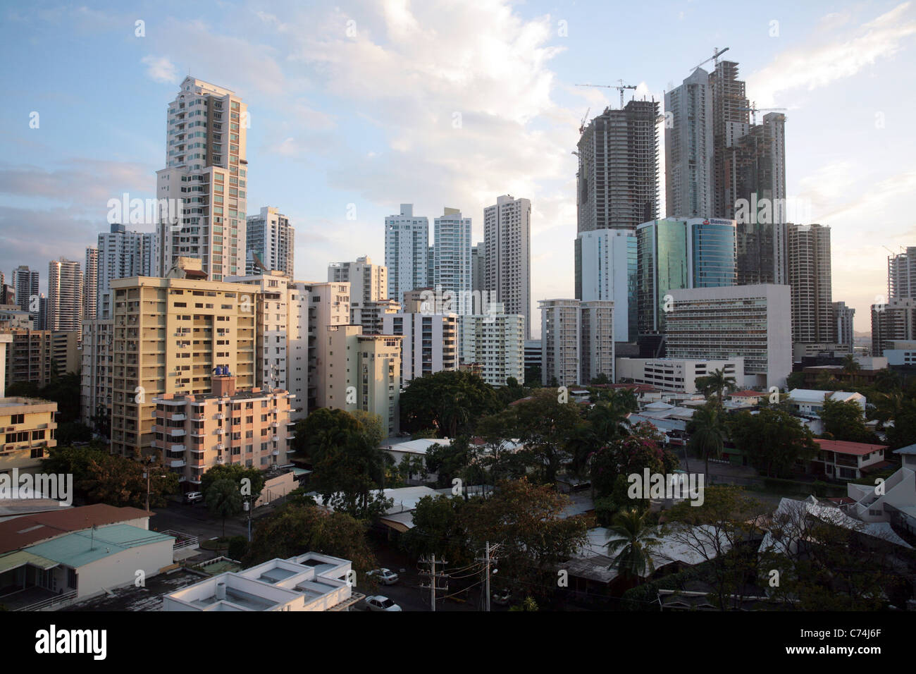 View of the financial and banking area of Panama City, around Marbella, seen from the Riu Hotel. - Stock Image