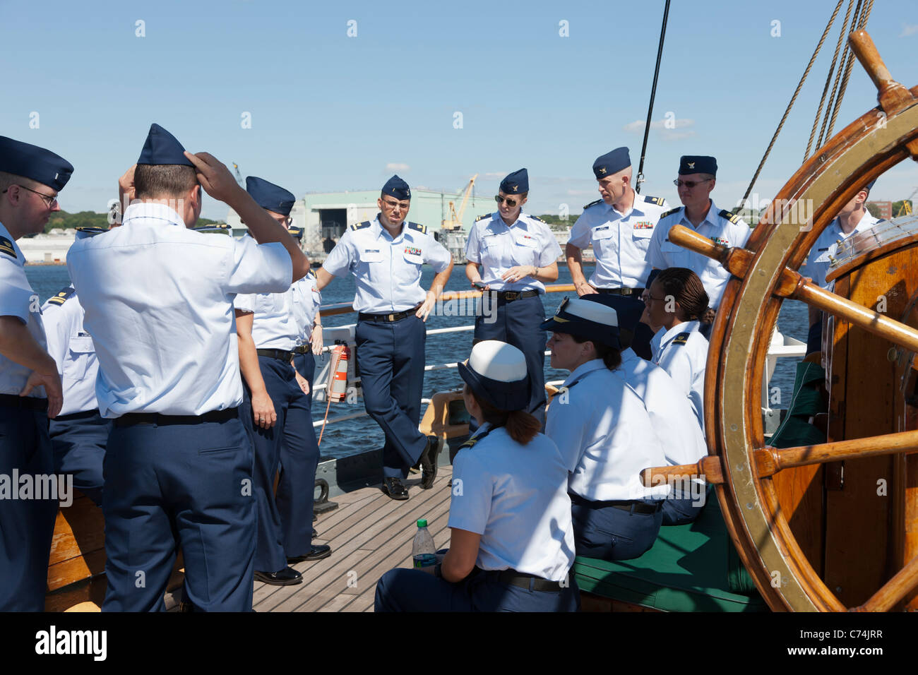 New officers train aboard the USCGC 'Eagle' at its homeport at the Coast Guard Academy in New London, Connecticut. - Stock Image