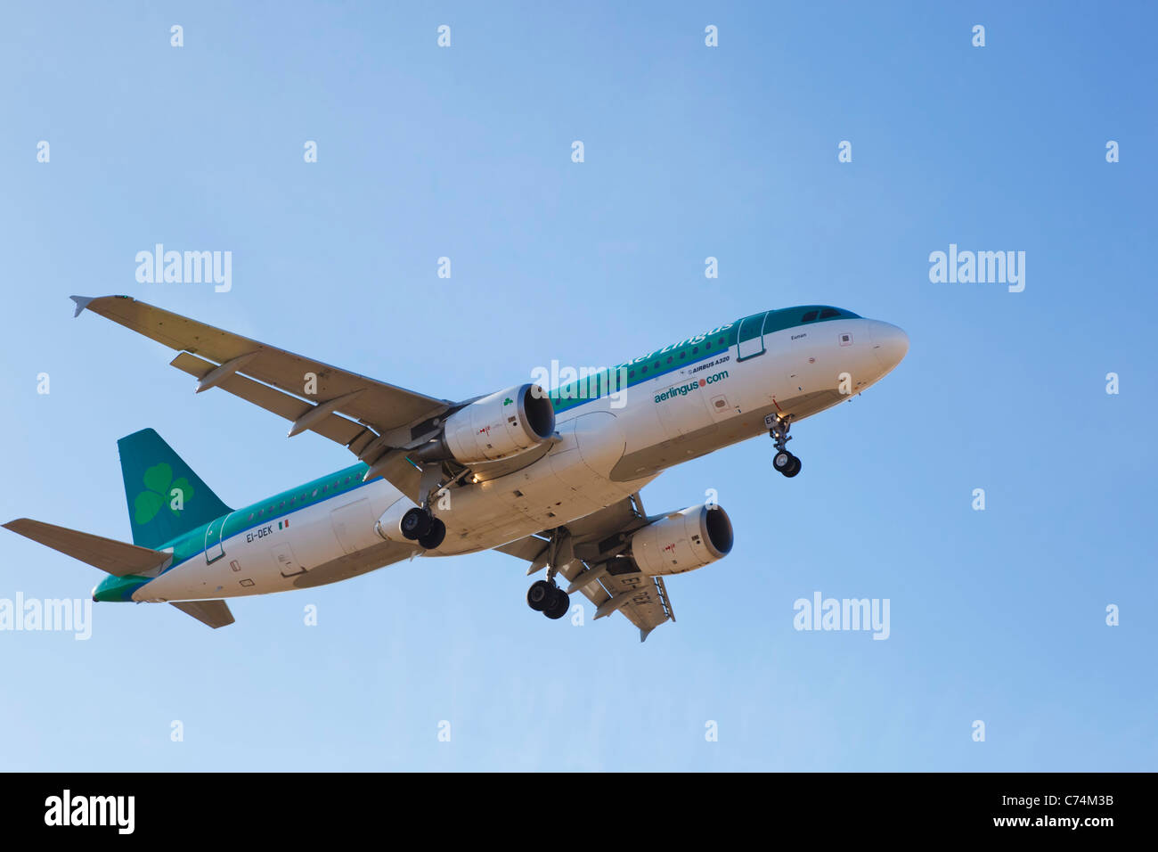 An Airbus A320-214 aircraft of the Aer Lingus fleet, named St Eunan or Eunan - Stock Image