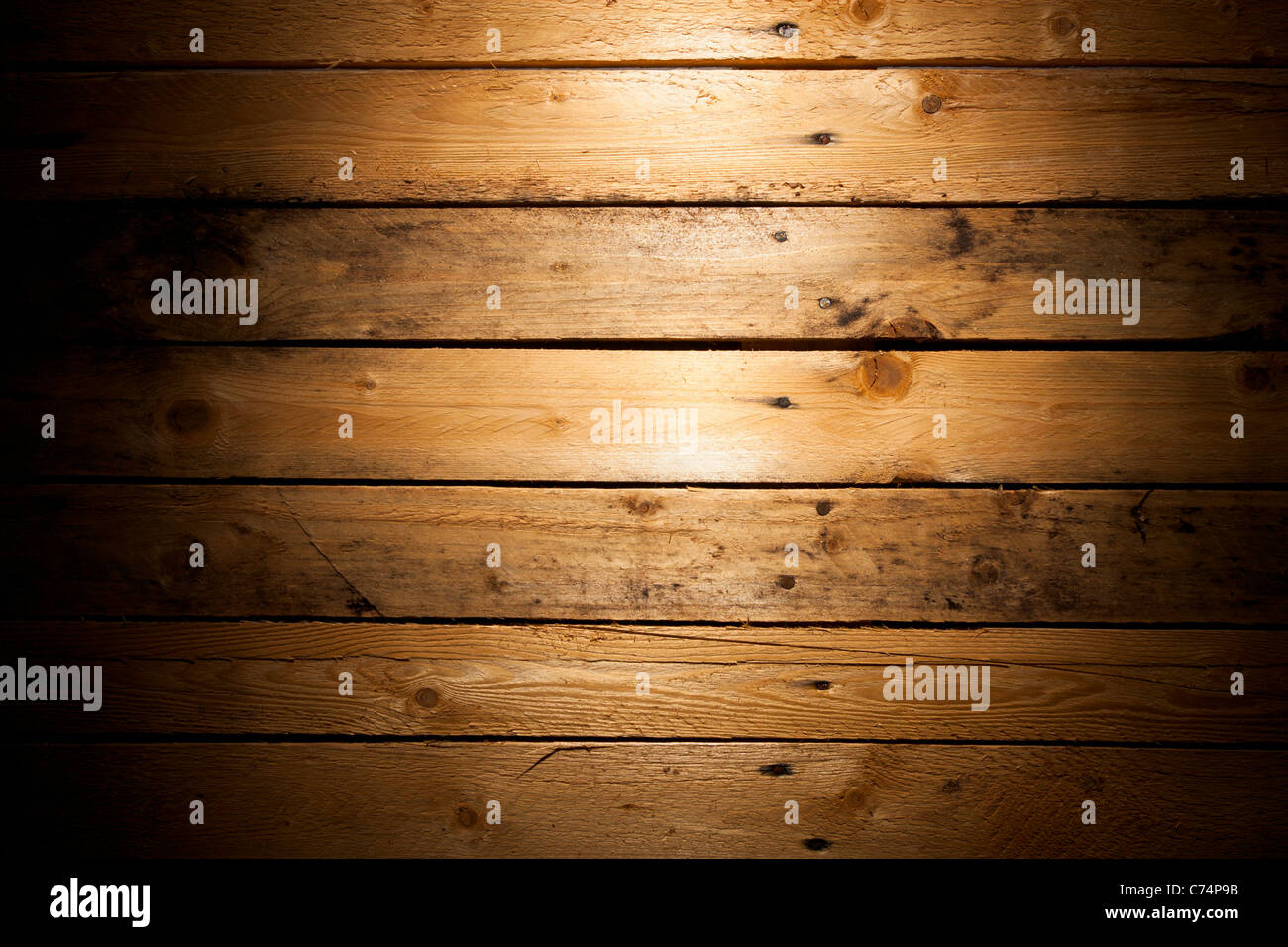 Pine Wood (Deal) Texture with Vignette - Stock Image
