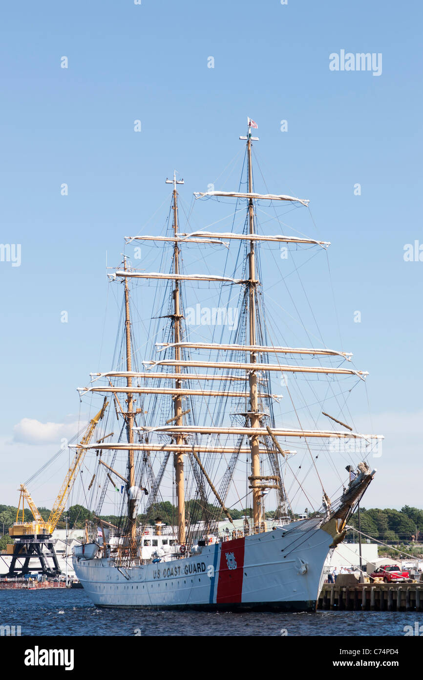 "The USCGC ""Eagle"", a barque used for training, docked at its homeport at the Coast Guard Academy in New London, Stock Photo"