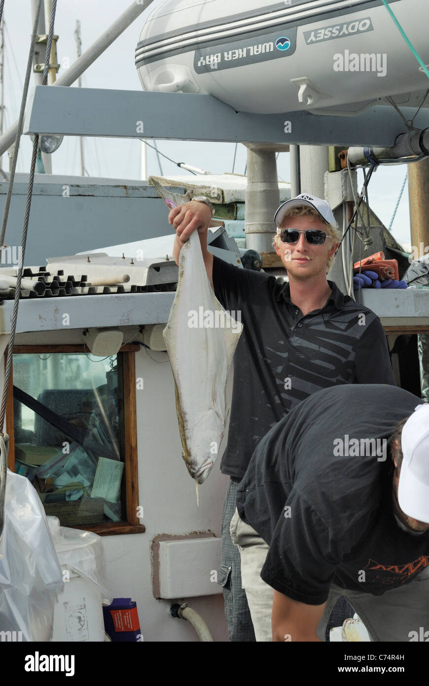 Commercial fish monger displaying to sell a freshly caught Hailbut from their boat. - Stock Image
