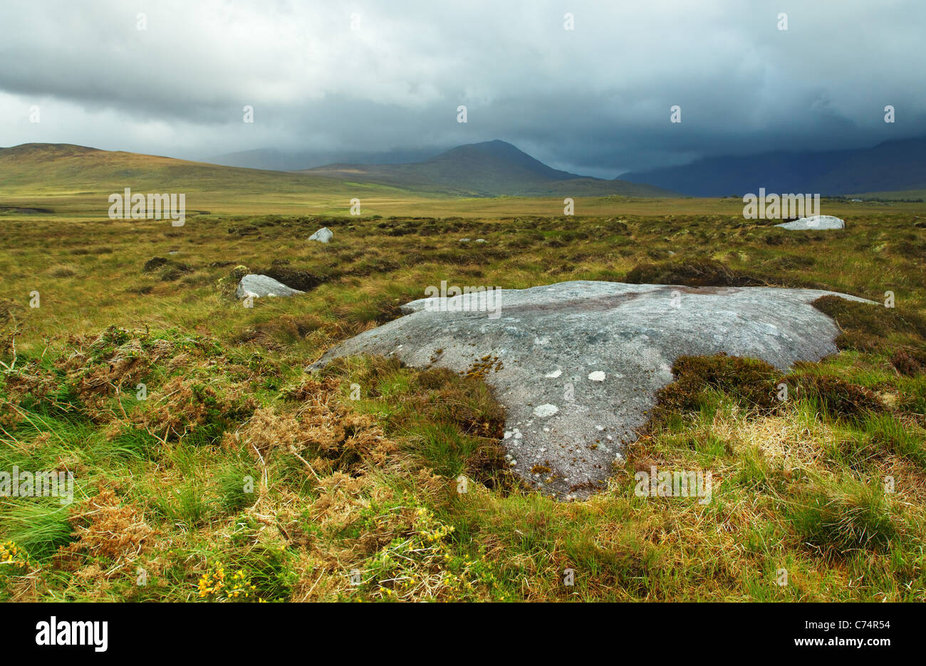 Stormy weather over Connemara countrside, Doolough Valley, County Mayo, Republic of Ireland - Stock Image
