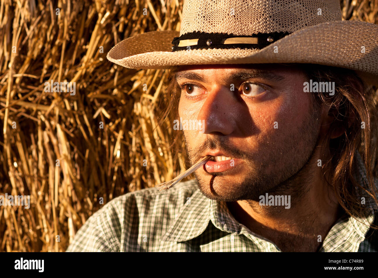 Tough Cowboy with Straw in His Mouth - Stock Image