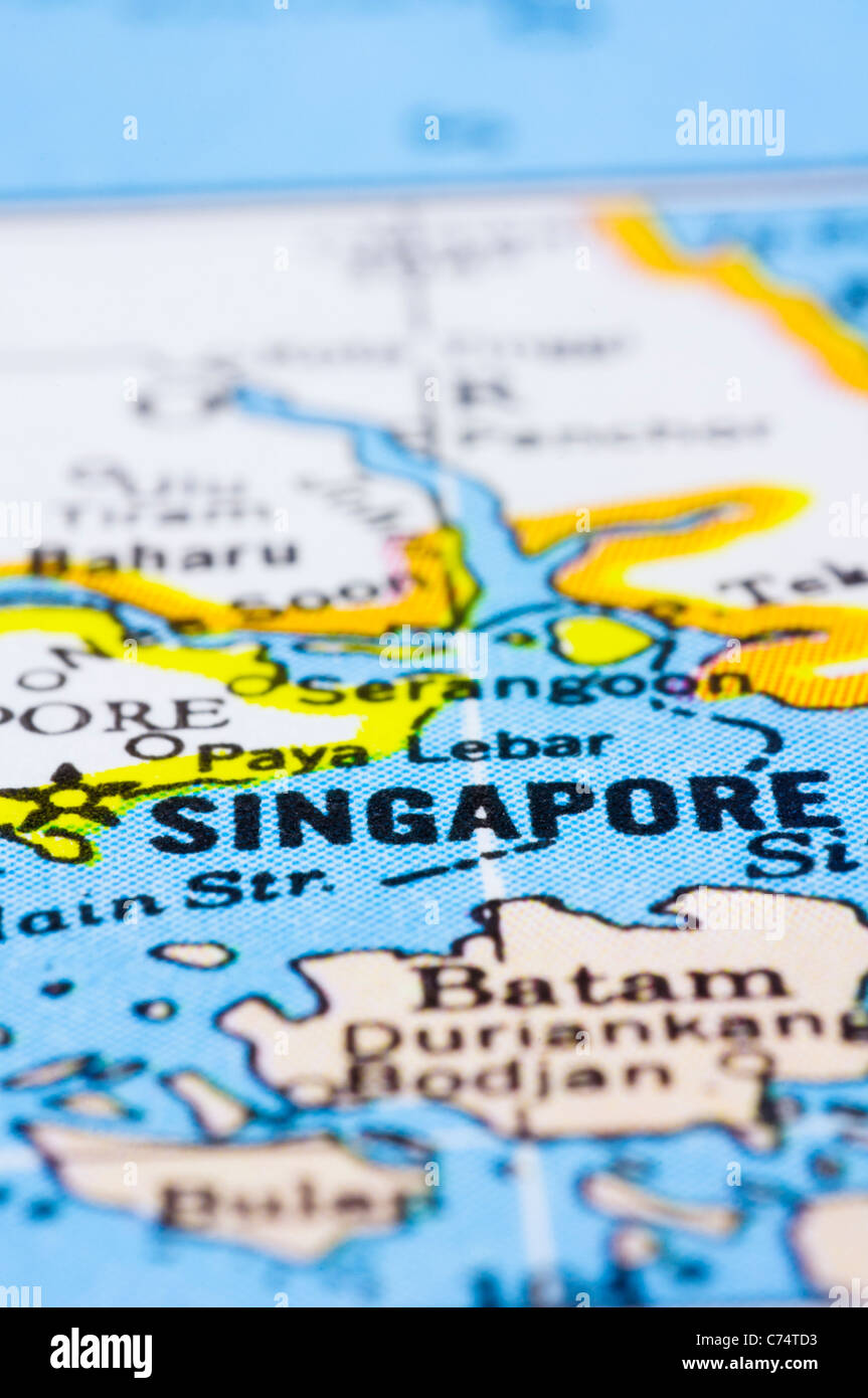 a close up shot of Singapore on map, asia Stock Photo: 38830319 - Alamy